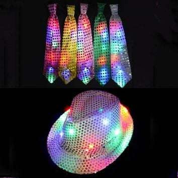 Woman Man Boy Girls Sequins Light LED Neck Tie Hip Hop Jazz Hats Cap Flashing Birthday Party Supplies Wedding Favors 2017 NEW