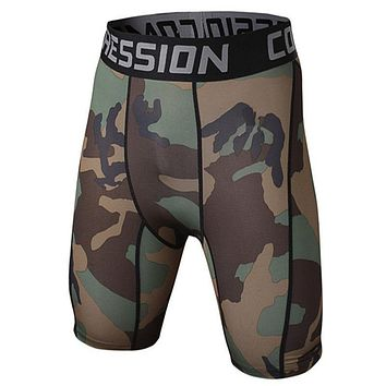 Mens Compression Camouflage shorts Bodybuilding Skin Tight MMA Crossfit Workout gyms Fitness short pants Joggers clothing