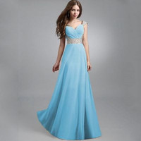 Chiffon Sequin Anniversary Night Party Wedding Prom One Piece Dress _ 7011