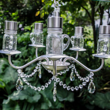 June - Vintage garden solar chandelier with mini mason jar 'bulbs' for garden or wedding