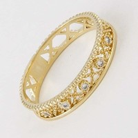 Rhinestone Embellished Ornate Ring