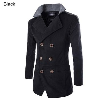 Brand Fashion Stand Collar Winter Men Wool Jacket Coat Double Breasted Patchwork Slim Fit Casual Long Men Overcoat  M-XXL