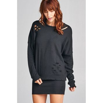 Distressed French  Terry Sweater (Black)