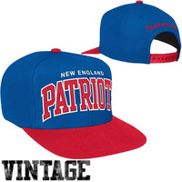 Mitchell & Ness New England Patriots Classic Arch Snapback Adjustable Hat - Royal Blue/Red