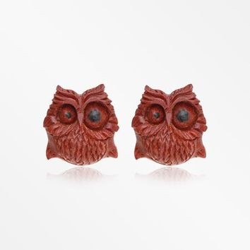 A Pair of Spazzy Owl Handcarved Wood Earring Stud