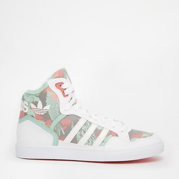 Adidas Originals Extaball White & Green High Top Sneakers