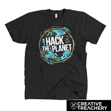 Hack the Planet t-shirt | Great gift for developers, programmers, or coders or lovers of the movie Hackers.