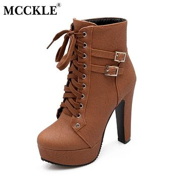 MCCKLE Ankle Boots For Women Female High Heels 2017 Lace Up Autumn Shoes Woman Buckle Platform Short Boots Plus Size Mujer Botas