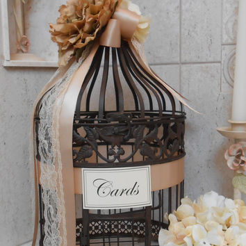 Bird cage Wedding Card holder / Wedding Cardholder / Birdcage Card Holder / Round Birdcage / Vintage Style Wedding Card Holder