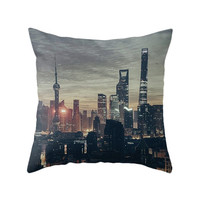 Urban City Pillow, Skyline Photography, Modern Landscape, Night Photo, Street Pillow Cover, Young Decor, Industrial Style,  Cushion Cover