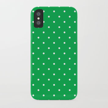 Small White Polka Dots with Green Background by CoolFunAwesomeTime