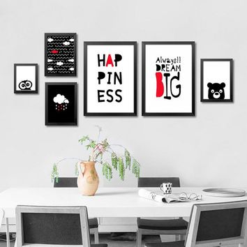 Modern Nordic Posters Cartoon Letter Canvas Art Prints Poster Kids Room Wall Picture Canvas Painting Home Decor Picture HY135
