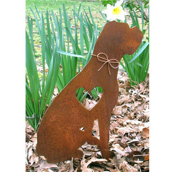 Boxer Dog Metal Garden Stake - Metal Yard Art - Metal Garden Art - Pet Memorial