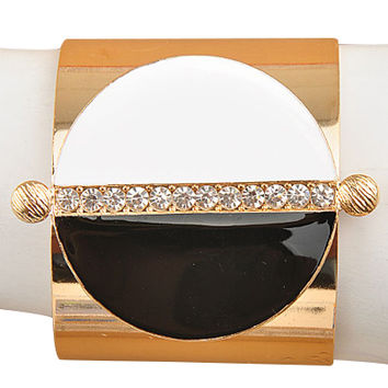 Half Moon Black & White Gold Cuff Bracelet
