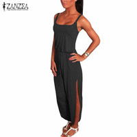 ZANZEA 2017 Summer Rompers Womens Jumpsuit Sexy Spaghetti Strap Sleeveless Split Overalls Long Playsuit Plus Size S-4XL