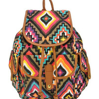 Multicolor Folk Printed Backpack