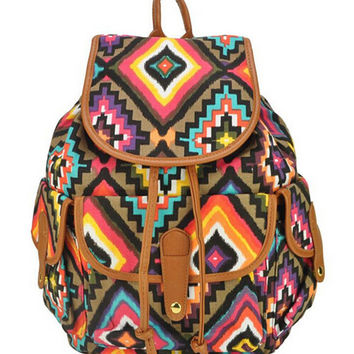 Multicolor Geometric Print Vintage Backpack