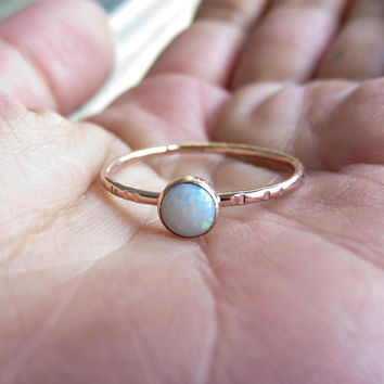 5mm Natural AAA Opal in Solid 14k Rose or Yellow Gold Stacking Ring, Smooth, Matte, Notched, or Hammered Band, October Birthstone Ring