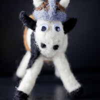 Vignar the Battle Bovine, Needle Felted Fiber Art Soft Sculpture