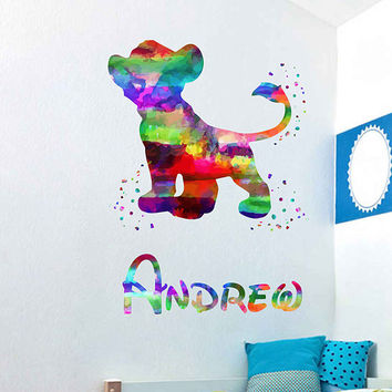 kcik2011 Full Color Wall decal Watercolor Character Disney The Lion King Simba Sticker Disney boy name personalized Child's name