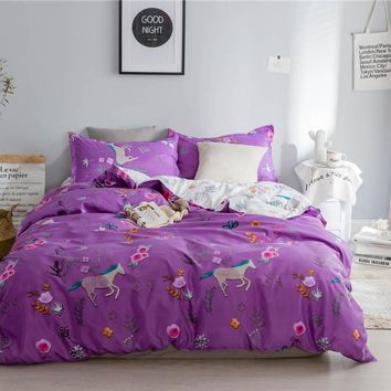 Purple ball Princess style white Horse beautiful flower Bedding set Queen King size bed duvet cover fit sheet set Pillowcase
