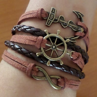 Rudder Infinity Anchor bracelet, Antique Bronze Charm, Brown wax cords and Leather, sister best friend girlfriend Gift