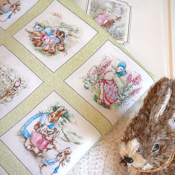 Beatrix Potter Fabric / Garden Tales Fabric Panel / Cotton Fabric /  Peter Cotton Tail / Beatrice Potter Fabric