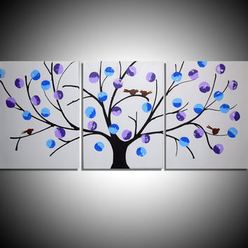 love bird landscape abstract bird painting triptych nursery canvas original wall art contemporary 3 panel wall art tree of life