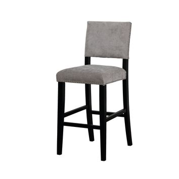 Clayton Dark Gray Washed Velvet Bar Stool