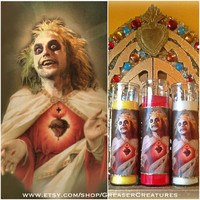 Saint Beetlejuice Prayer Candle. Horror, Retro, Kitschy, Goth