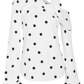 Monse - Off-the-shoulder polka-dot silk-blend top
