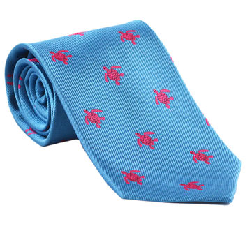 Turtle Necktie - Pink on Blue, Woven Silk
