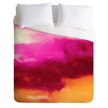 Caleb Troy Cherry Rose Painted Clouds Duvet Cover
