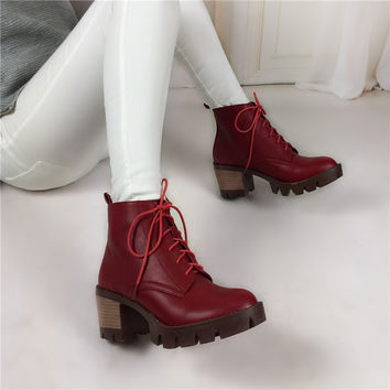 plus size 34-43 Hot Sale Platform Martin Boots Women Square High Heels Shoes Lace Up Ankle Boots Casual Fashion motorcycle boots