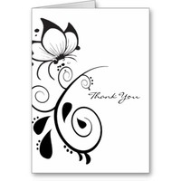 Floral Butterfly Thank You Cards