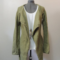 Open Hand Knit Cardigan with Tie Waist in Green