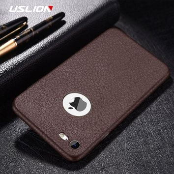 Retro PU Leather Litchi Texture Phone Case For iPhone X Soft TPU Silicon Back Cover For iPhone 6 6S 7 Plus 5 5s SE Cases