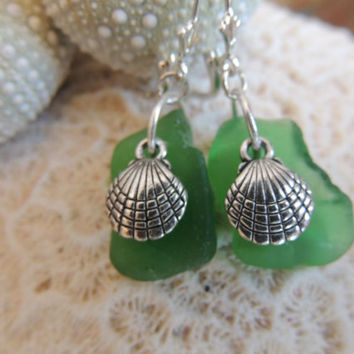 Green Hawaiian Surf Tumbled Sea Glass Clam Shell Earrings