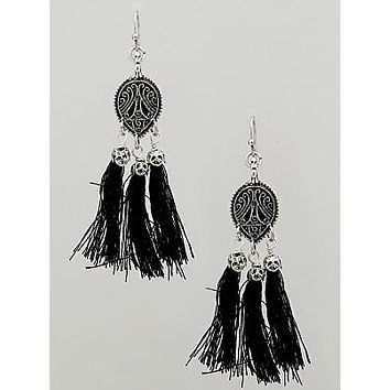 Louder than Words Black Tassel Earrings