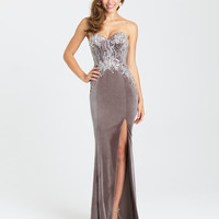 Preorder - Madison James 16-424 Smoke Grey Sexy Strapless Velvet Long Dress 2016 Prom Dresses
