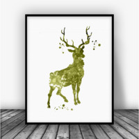 Deer Green Art Print Poster