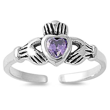 Sterling Silver Claddagh Benediction Heart 7MM  Toe Ring/ Knuckle/ Mid-Finger CZ Amethyst CZ