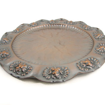 Gregorian Hammered Copper Wall Hanging Serving Tray