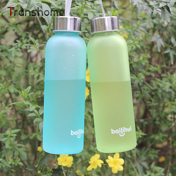 Creative Exclusive New Soda Water Bottle Frosted Plastic Cup Leak-proof Seal Food Grade PC Sports Bottles With Rope Transhome