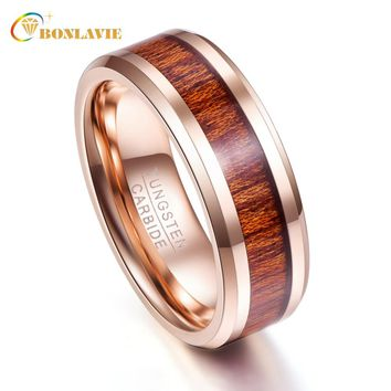 Rose Gold Wood Grain 8mm Width Men Rings Tungsten Carbide Couple Anillos para hombres Fashion Jewelry
