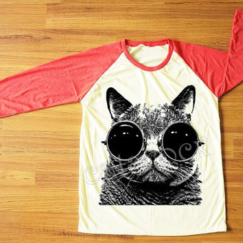 Cat Glasses T-Shirt Kitten Cat T-Shirt Animal T-Shirt Red Sleeve Tee Shirt Women T-Shirt Men T-Shirt Unisex T-Shirt Baseball T-Shirt S,M,L