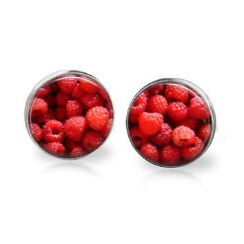 Raspberry Earrings Cute Glass Studs Fruit Earrings Fruit Jewelry Food Earring Food Jewelry Raspberry Jewelry for Foodies Gift For Vegetarian
