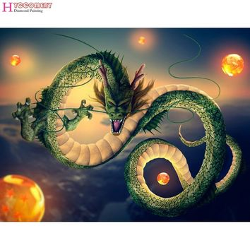 5D Diamond Painting Japanse anime Dragon Ball Groene draak full Diamond Embroidery Diamond Mosaic Cross Stitch wall decoration