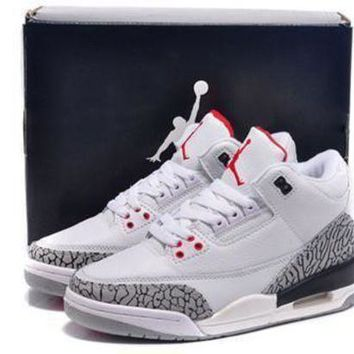 Hot Air Jordan 3 Retro White Grey Black Women Shoes