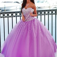 [159.99] Chic Tulle & Diamond Tulle Sweetheart Neckline Floor-length Ball Gown Quinceanera Dress - Dressilyme.com